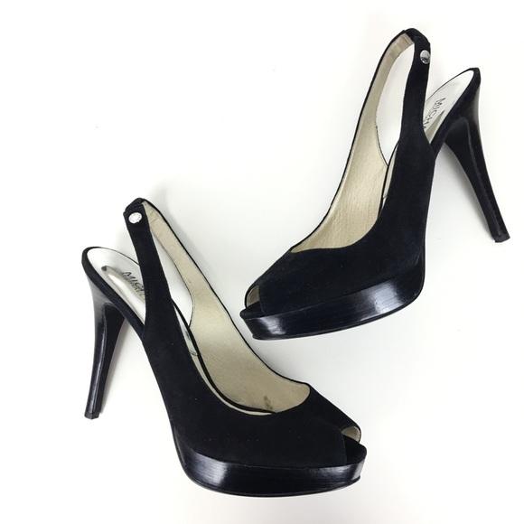 8da55d9a492a Michael Kors Sz 8 Black Heels Sling Backs Peep Toe.  M 5bcb37f53e0caaa8eb5d555e